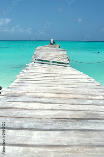 fishing man at caribbean sea
