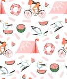 Hand drawn vector abstract cartoon summer time graphic illustrations artistic seamless pattern with beach gull birds,camping tent,watermelon and beauty girl on bike isolated on white background - 210505238