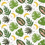 Hand drawn vector abstract cartoon summer time graphic illustrations seamless pattern with banana fruits and tropical palm leaves isolated on white background - 210505258