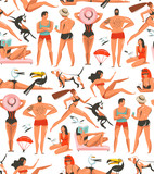 Hand drawn vector abstract cartoon summer time graphic illustrations artistic seamless pattern with relaxing people,beach birds,dogs and beauty running girl on beach isolated on white background - 210505273