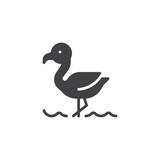 Flamingo on the beach vector icon. filled flat sign for mobile concept and web design. Tropical flamingo bird simple solid icon. Symbol, logo illustration. Pixel perfect vector graphics
