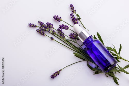 Lavender essential oil in a glass bottle with a pipette