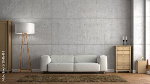 Helles Wohnzimmer Betonwand Sofa - 210516434
