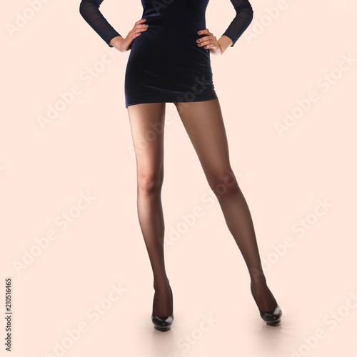 Layout For Packing Of Pantyhose Long Slim Female Legs In Thin Tights