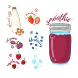 Berry cocktail for healthy life. Smoothies with blueberry, almond milk, raspberry and grape. Recipe vegetarian organic smoothie in jar. Template recipe card with detox drink for diet. Vector - 210517012