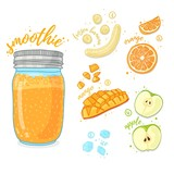 Orange cocktail for healthy life. Smoothies with mango, banana, prange and apple. Recipe vegetarian  fruit organic smoothie in jar. Template recipe card with detox drink for diet. Vector - 210517048