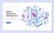 Mobile Application Development Isometry Illustration