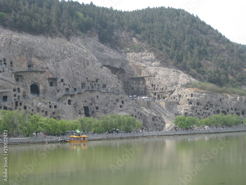 Plexiglas Khaki lake, water, landscape, nature, river, mountain, sky, blue, reflection, summer, mountains, rock, travel, panorama, view, sea, tourism, green, cliff, hill, architecture, forest, coast