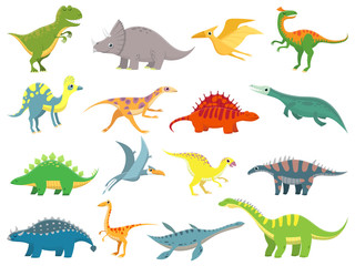 Cute baby dinosaur. Dinosaurs dragon and funny dino character. Fantasy cartoon dinosaurs vector illustration set