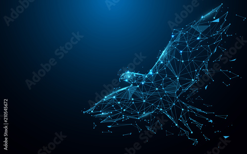 Eagle fly form lines, triangles and particle style design. Illustration vector