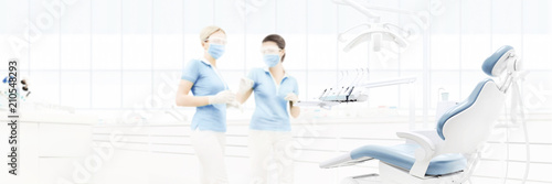 Fototapeta dental clinic interior with doctors, blurred background for copy space template