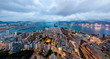 Leinwanddruck Bild - Panorama landscape of Hong Kong and Kowloon city from the sky