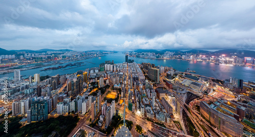 Leinwanddruck Bild Panorama landscape of Hong Kong and Kowloon city from the sky