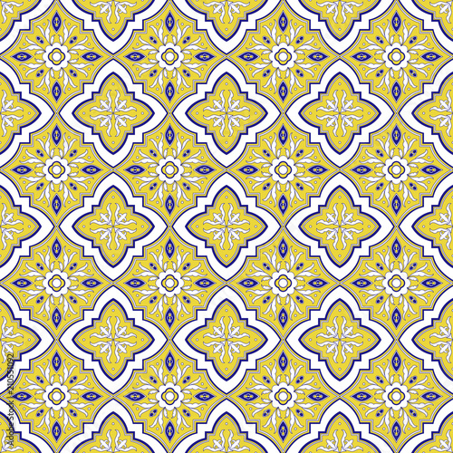 Spanish tile pattern vector seamless with flower ornaments. Portuguese azulejo, mexican talavera, italian majolica, iberico motifs. Tiled texture for ceramic kitchen wall or bathroom mosaic floor. - 210551092