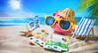 Leinwandbild Motiv Piggy bank with sunglasses relax on the beach holiday