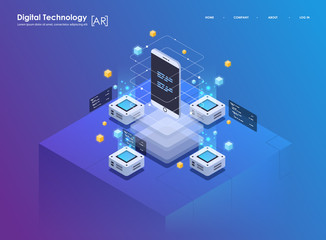 Isometric design concept virtual reality and augmented reality. AR and VR Development. Digital Media Technology for website and mobile app. © Andrew Derr