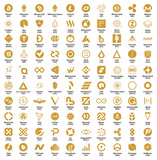 Crypto currency blockchain assets vector logo set golden isolated on white background - illustration - 210553011