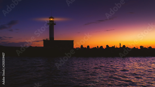 Fotobehang Aubergine Aerial view of lighthouse at sunset in Varna, Bulgaria