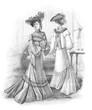 vintage feminine models wearing old style dresses