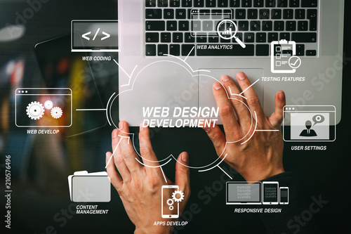 Leinwanddruck Bild cyber security internet and networking concept.Businessman hand working mobile phone on laptop computer background