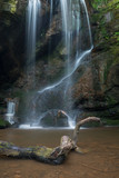 Beautiful calm waterfall landscape at Roughting Linn in Northumberland National Park in England - 210580642