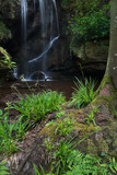 Beautiful calm waterfall landscape at Roughting Linn in Northumberland National Park in England - 210580812