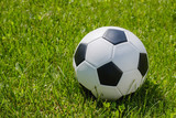 Traditional soccer ball on soccer field - 210583854