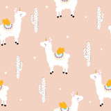 Pastel childish seamless pattern with white alpaca unicorn and cacti. Vector hand drawn illustration. - 210590230