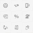 Online Support line icon set with loudspeaker, phone message and call center