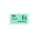 Periodic table element einsteinium icon. Element of chemical sign icon. Premium quality graphic design icon. Signs and symbols collection icon for websites, web design, mobile app