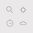 Web simple linear icons set. Outlined vector icons
