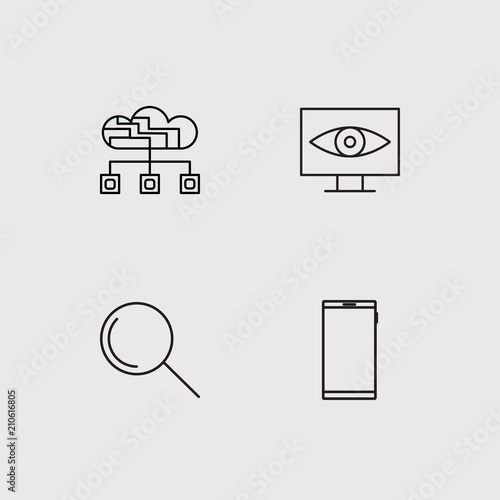 Data Analytics simple linear icons set. Outlined vector icons - 210616805