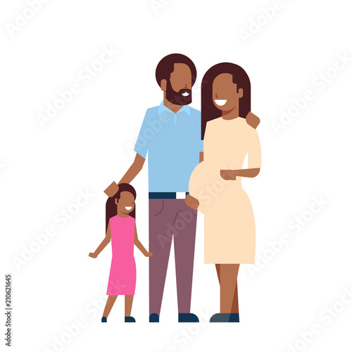 african pregnant mother father daughter full length avatar on white background, successful family concept, flat cartoon vector illustration
