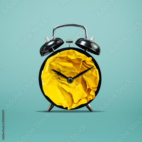 Creativity concepts.paper crumpled ball mix with clock.business solution