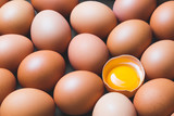 Chicken eggs and egg yolk,top view. - 210625413