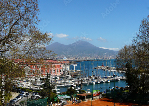 Fotobehang Napels view of naples with boats and vesuvius