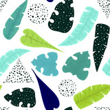 Seamless Pattern of Blue Leaves and Black Dots - 210628283