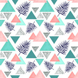 Seamless Pattern of Indigo Ferns and Triangles - 210628298