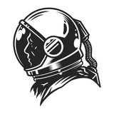 Vintage monochrome cosmonaut profile view template