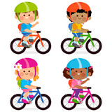 Children riding bicycles and wearing their helmets and backpacks.