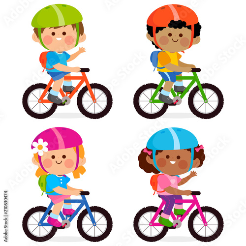 Children riding bicycles and wearing their helmets and backpacks. - 210630474