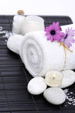 Spa setting with candle, rolled towel , Magnolia , salt, stoneson on mat - 210637226