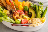 Vegetarian Arabic dip hummus with vegetables and different snacks on a light background. Healthy vegan food concept. - 210637858