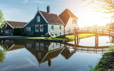 A traditional Dutch house in the sunlight