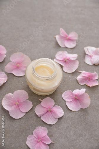Aluminium Spa Many Pink hydrangea petals,cream on gray background