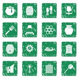 Apiary tools icons set in grunge style green isolated vector illustration - 210644620