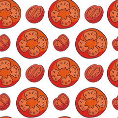 Colourful seamless pattern in doodle style with the image of fresh vegetables. Vector background. © olga_a_belova