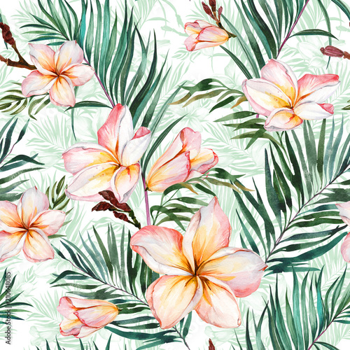 Plumeria flowers and exotic palm leaves in seamless tropical pattern. White background.  Watercolor painting. Hand drawn and painted floral illustration. © katiko2016