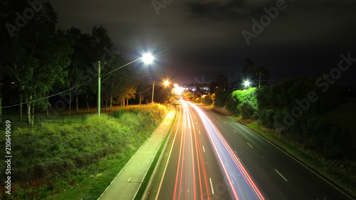 Fotobehang Nacht snelweg Light Trails on the Highway