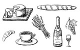 Part 2. Food design elements drawn with charcoal pencil. French culture. Set of detailed icons with cup, wine, cheese etc. Black and white doodle illustration isolated on white background - 210656207